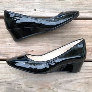 COLE HAAN Sadie Black Patent Leather Wedge Pump